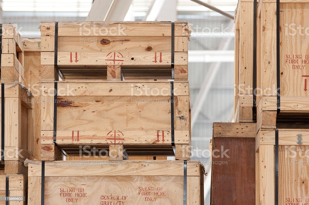 Wooden crates in a storage warehouse. stock photo