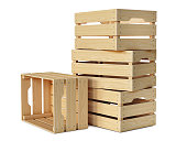 Wooden crates stack isolated on white background
