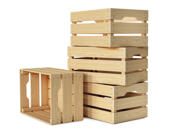 Wooden crates stack isolated on white background stock photo