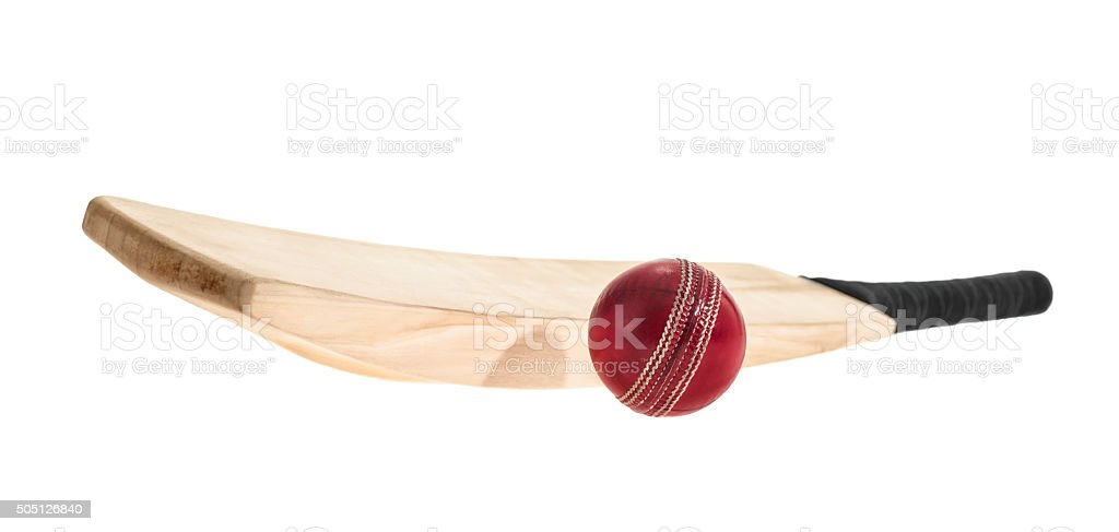 Wooden Cricket bat and ball on a white background stock photo