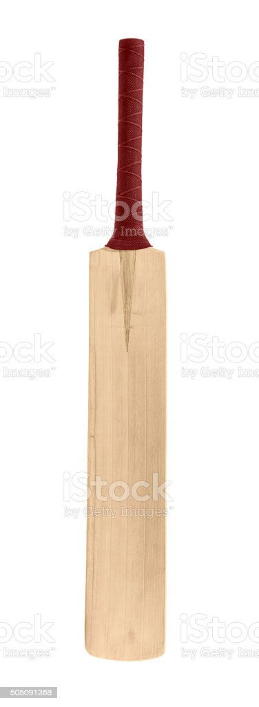 Wooden Cricket bat on a white background stock photo