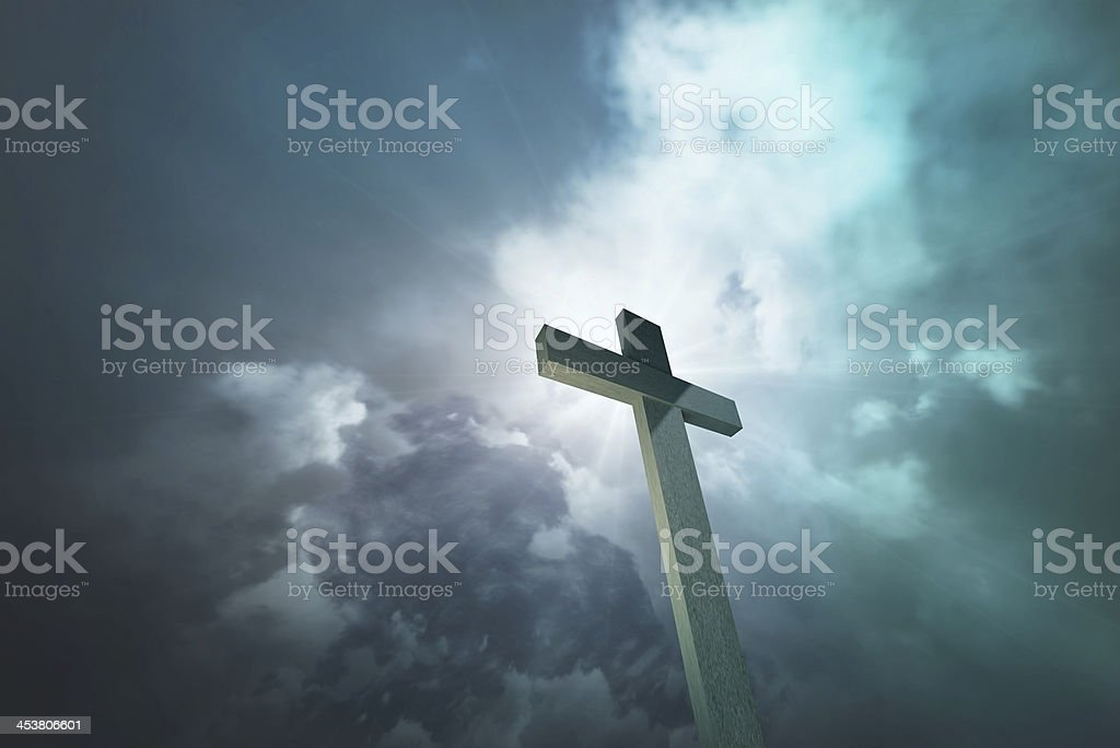 Wooden cross 1 stock photo