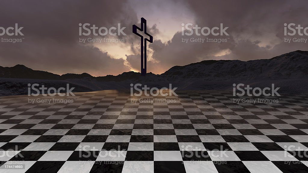 Wooden cross in night royalty-free stock photo