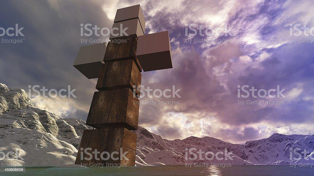 Wooden cross in water stock photo