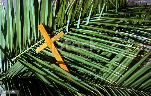 Wooden cross on palm leaves, Palm Sunday. This was shot in Jerusalem Israel the palm leaves are indigenous to the Holy Land. Palm Sunday is a Christian moveable feast that falls on the Sunday before Easter. The feast commemorates Jesus' triumphal entry into Jerusalem, an event mentioned in all four canonical Gospels.