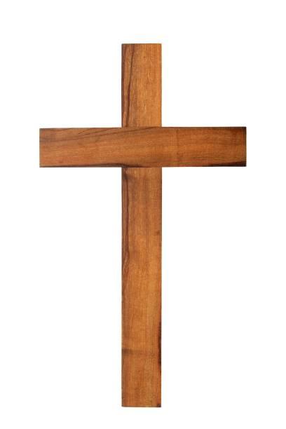 Wooden cross on white stock photo