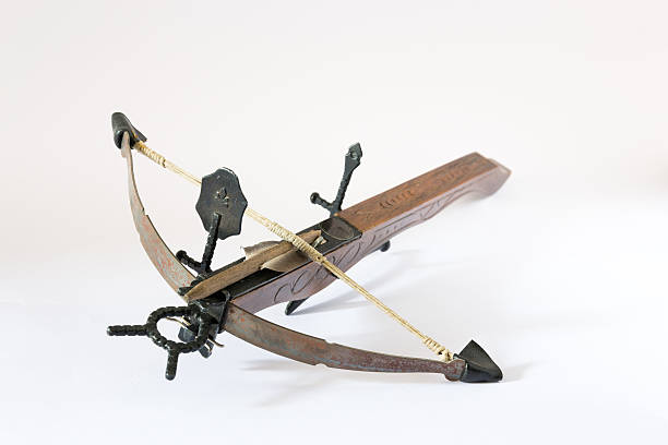 wooden crossbow made in italy - crossbow stock pictures, royalty-free photos & images