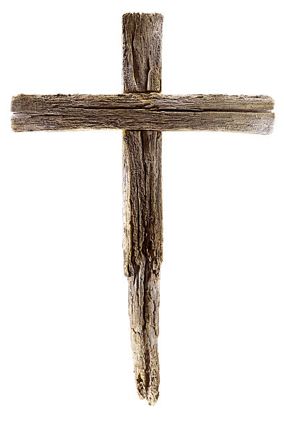 wooden crucifix cross on white background - cross stock photos and pictures