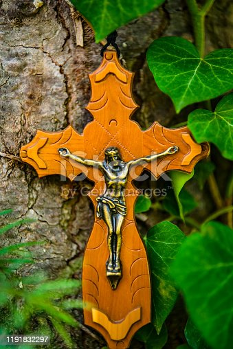 istock Wooden Crucifix on the Tree 1191832297