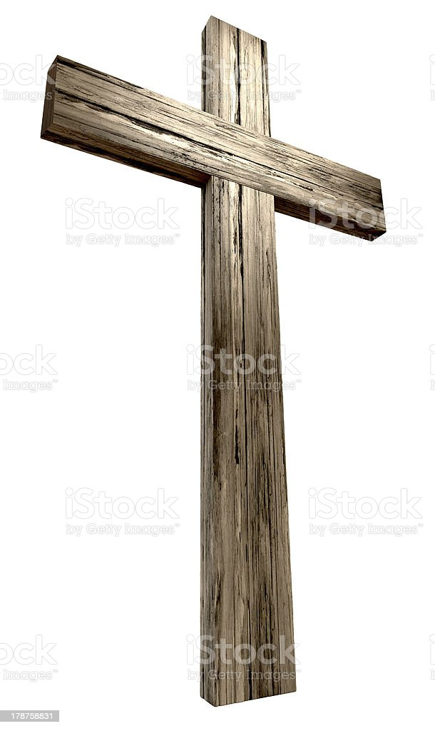 A wooden crucifix on white background stock photo