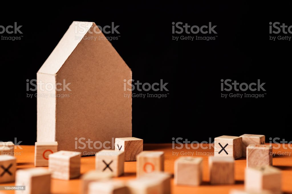 Wooden Cube Block With Cardboard Paper Model House Ideas