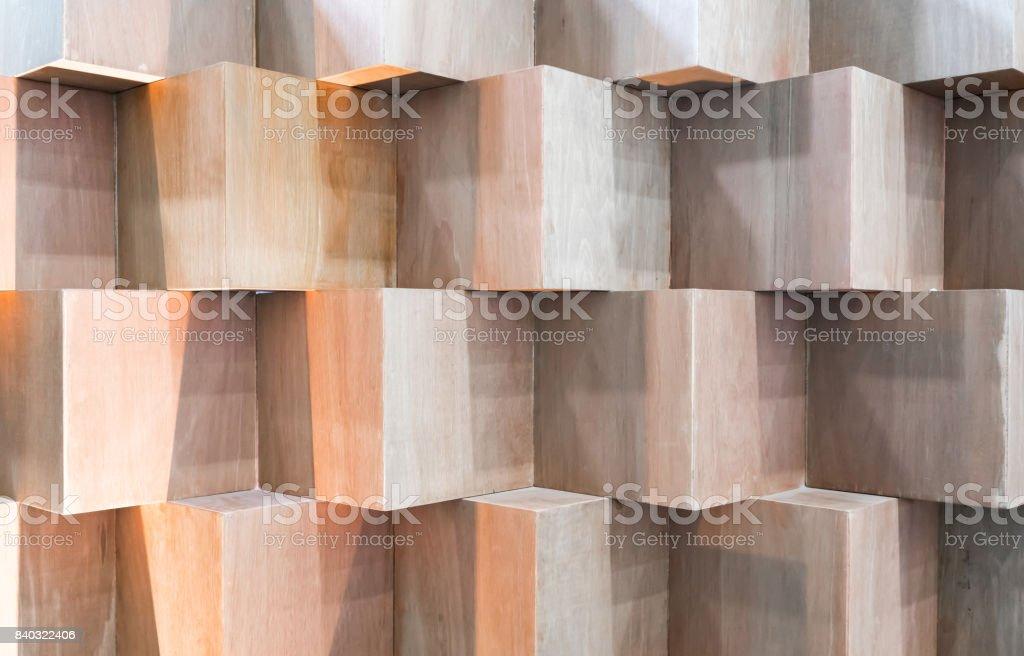Boîtes en bois cube création abstraite géométrique mur - Photo