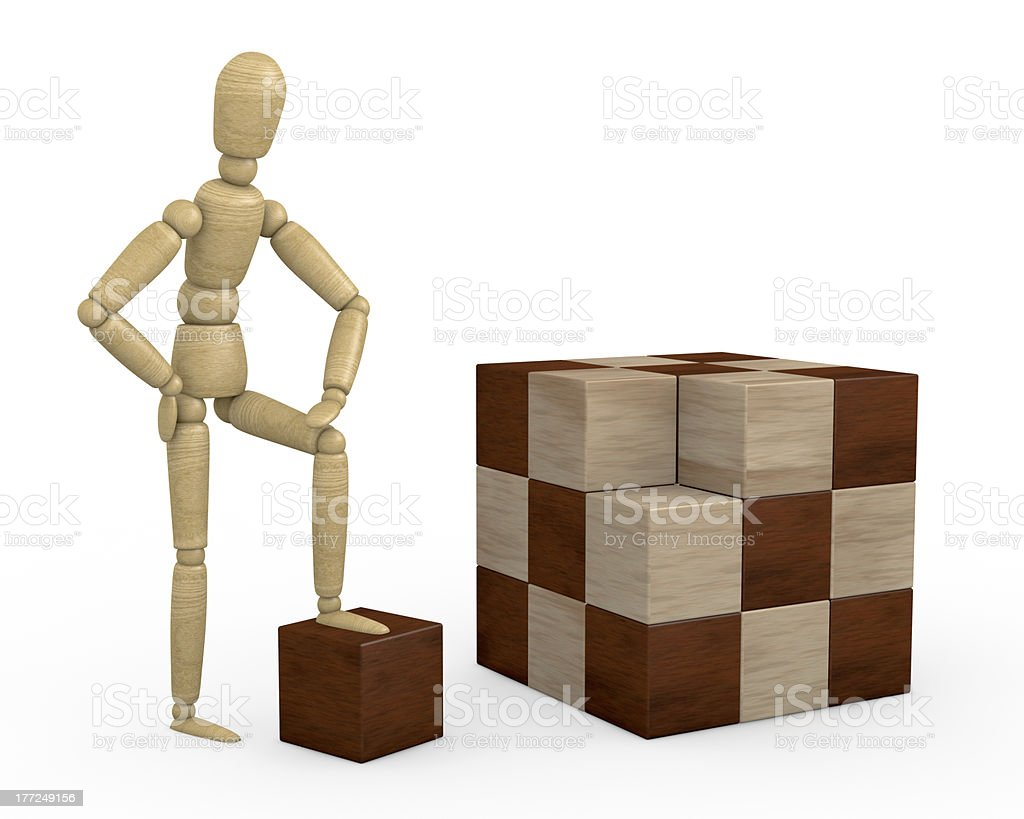 wooden cube puzzle royalty-free stock photo