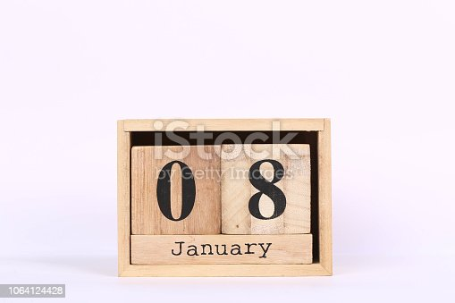 istock Wooden cubes calendar with the date of January 08. Concept calendar for year with copy space isolated on white background 1064124428