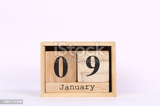 istock Wooden cubes calendar with the date of January 09. Concept calendar for year with copy space isolated on white background 1064124448