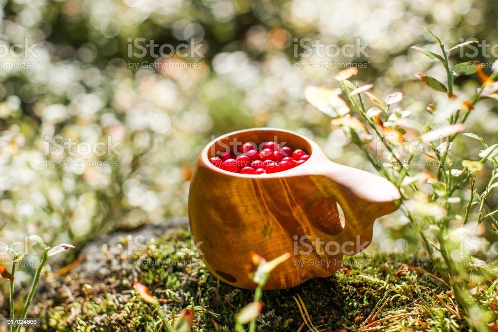 Holzbecher (Tradition) gefüllt mit frischen roten Preiselbeeren. – Foto