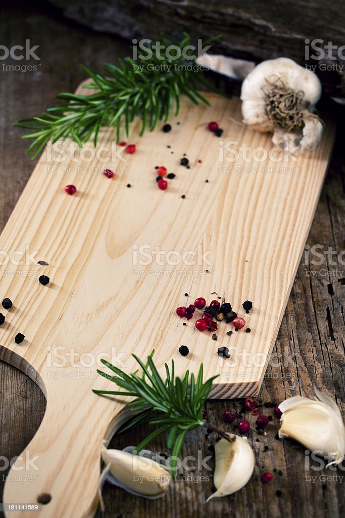 Wooden cutting board royalty-free stock photo