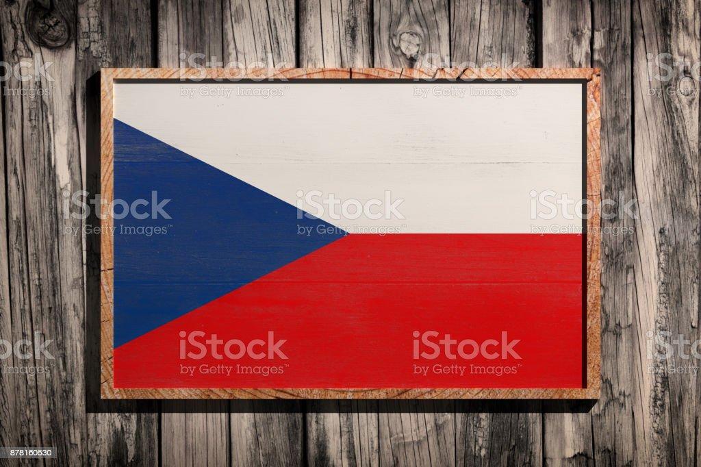 Bandera de República Checa de madera - foto de stock