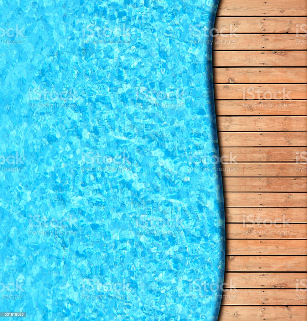 Wooden deck beside swimming pool stock photo