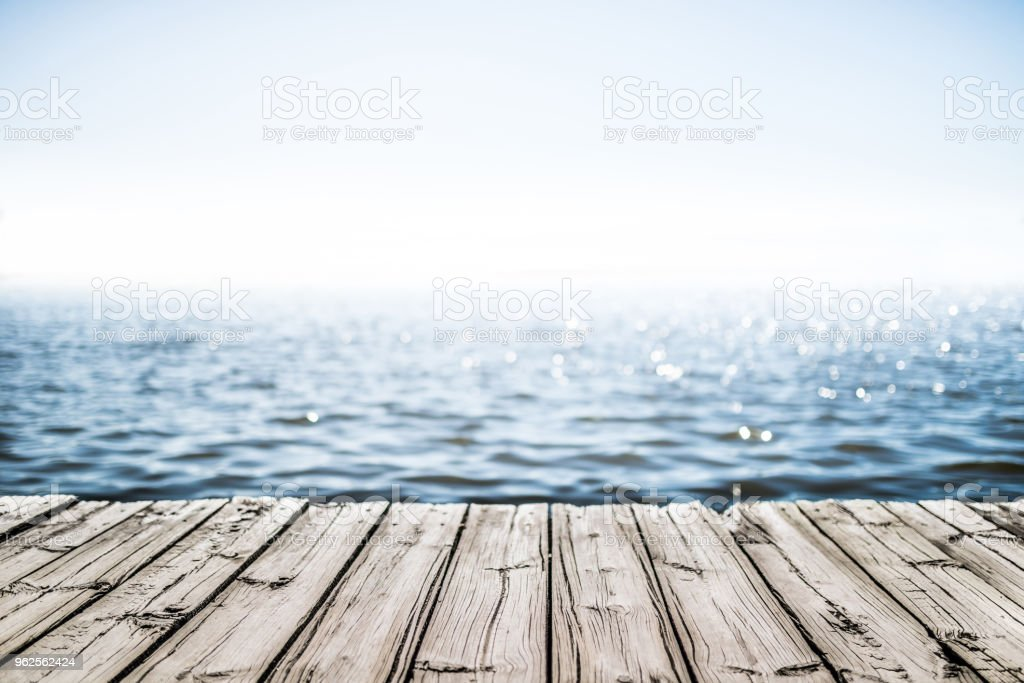 wooden deck by the sea royalty-free stock photo