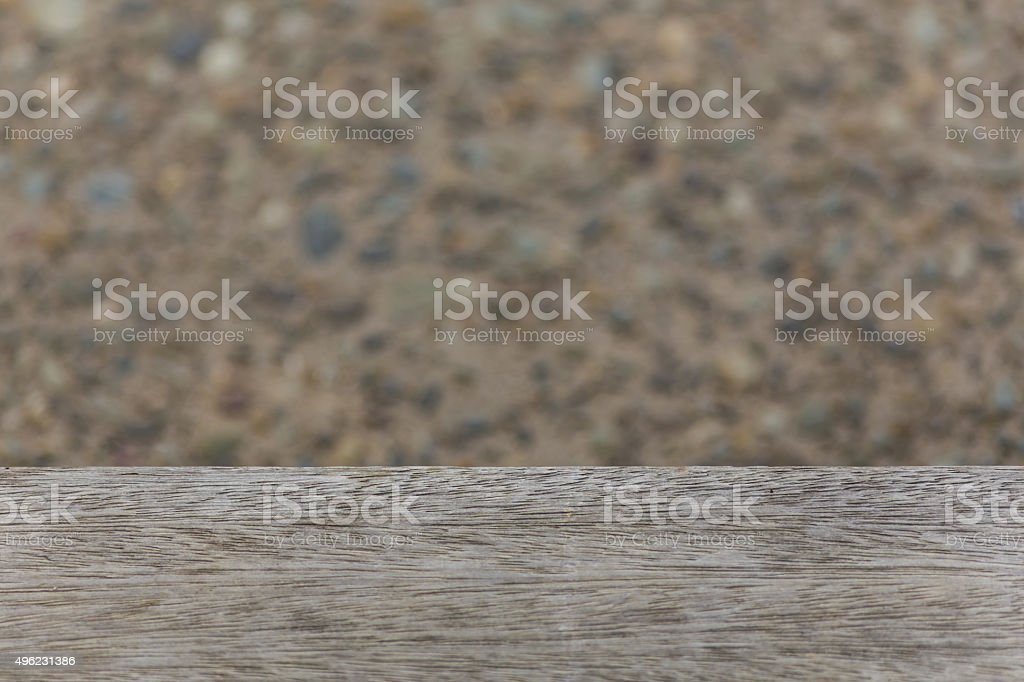 Wooden deck meets ground stock photo