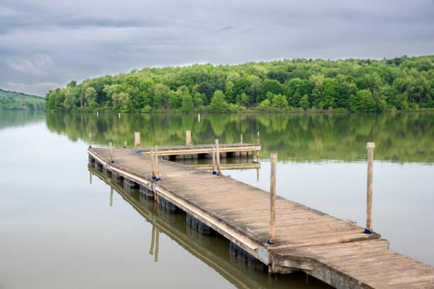 Cтоковое фото Wooden deck on lake Arthur.