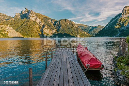 istock Wooden Deck on the Scenic Traunsee Lake in the Upper Austria Region 1257751095