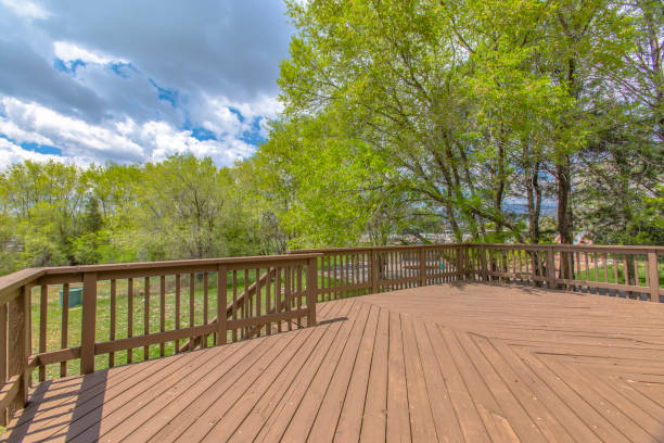 Wooden deck with cloudy skies and green trees stock photo