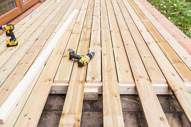 Wooden decking construction. stock photo