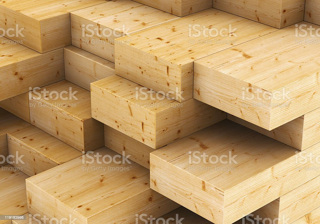Wooden decking stacked in piles according to length stock photo
