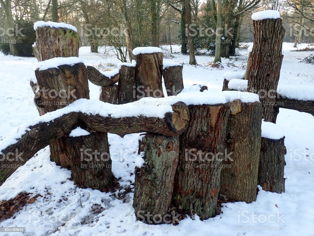 Wooden Den in the Snow, Chorleywood Common stock photo