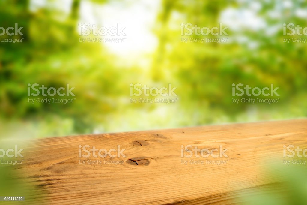 Wooden desk or wooden floor on bokeh background stock photo