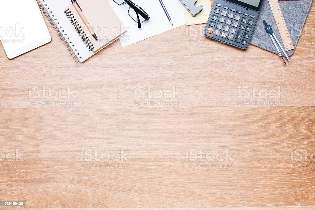 Wooden desk topview stock photo