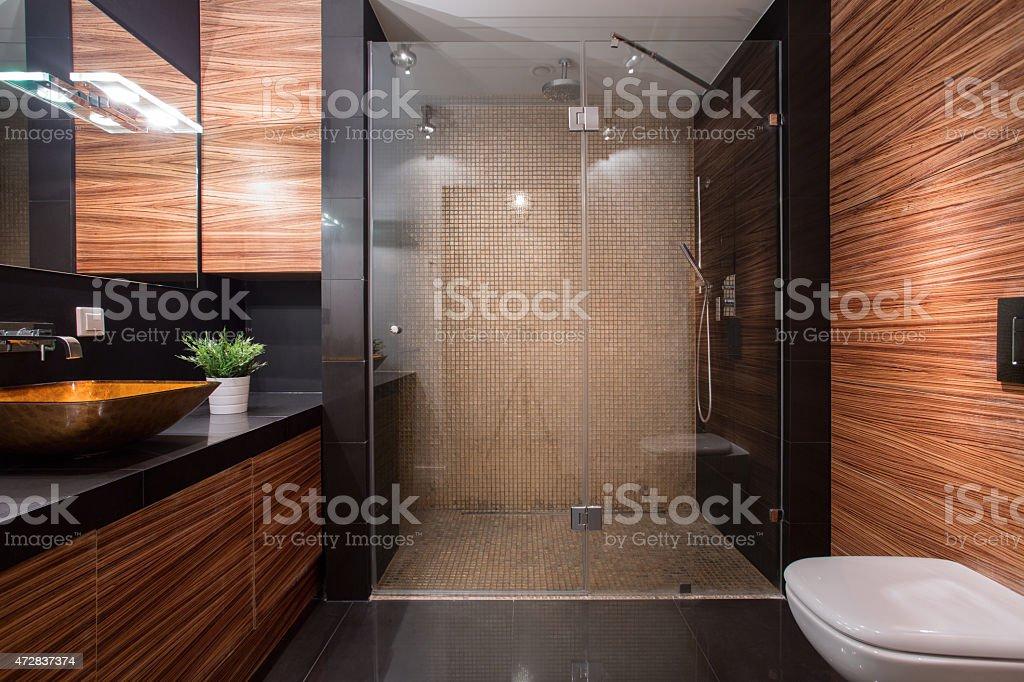 Wooden details in luxury bathroom stock photo