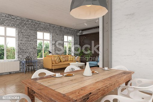 Close up view of a dining room table with white modern chairs. Modern pendant light over the table. There is a living room in the background. Windows showing nature scenery with green trees.  Brick wall dominating the scene. Horizontal composition render.