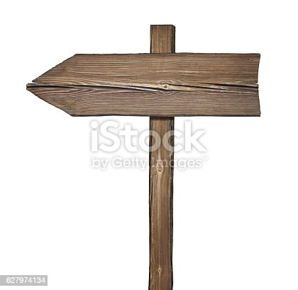 istock Wooden direction sign isolated on white 627974134