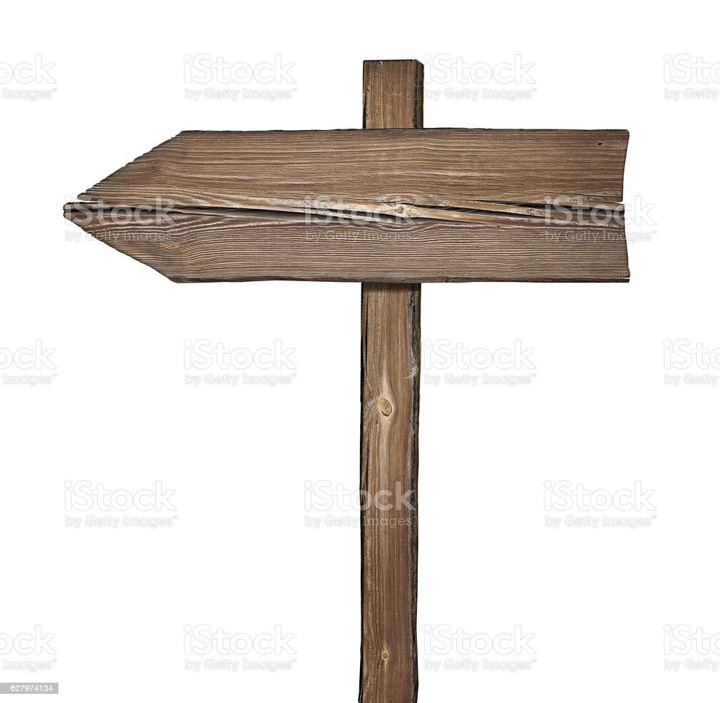 Wooden direction sign isolated on white stock photo