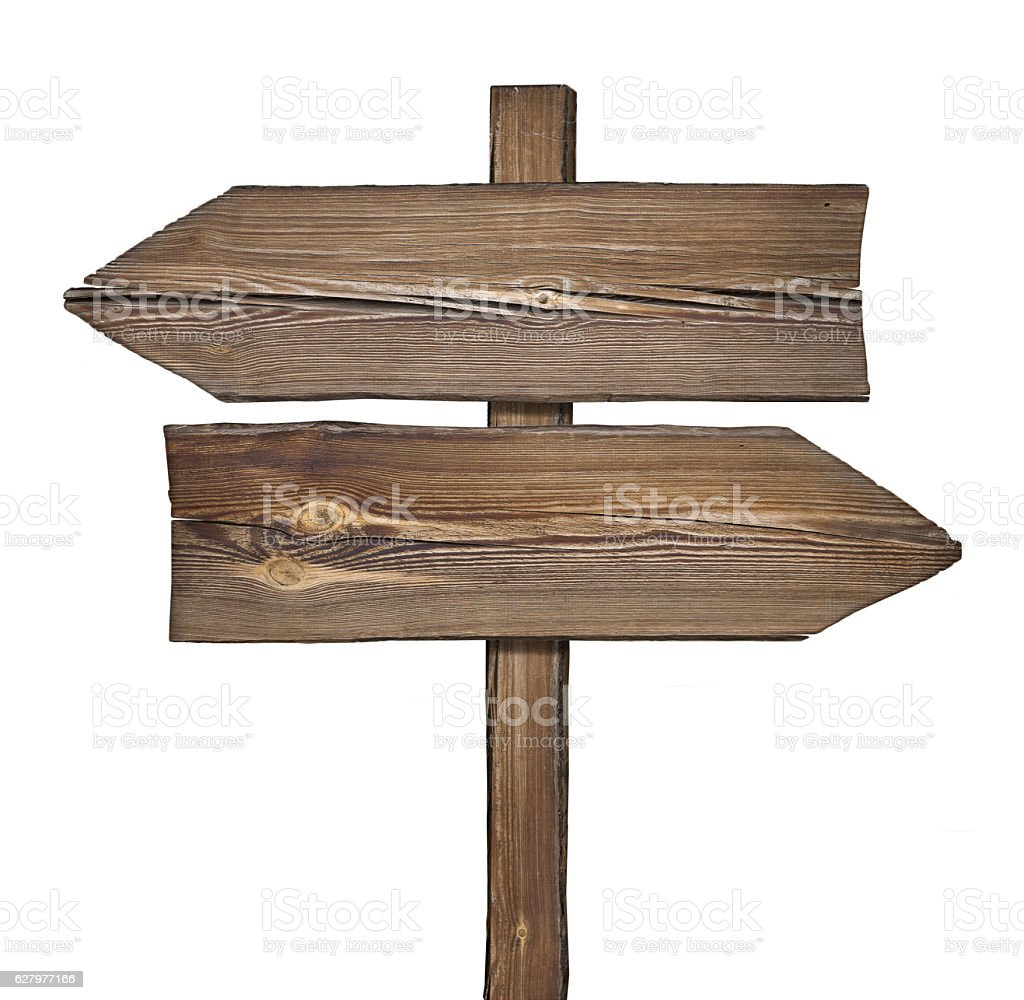 Wooden direction sign with arrows in opposite directions on white stock photo
