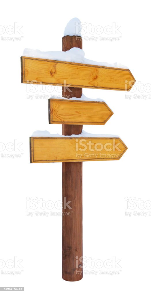 Wooden directional arrows on a post, covered by snow, isolated on white background - Zbiór zdjęć royalty-free (Bez ludzi)