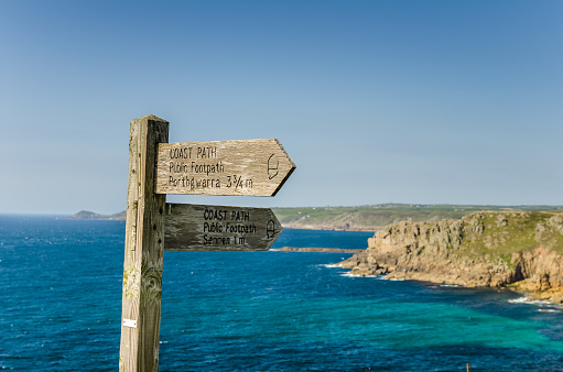 Wooden Directional Sign on a Coast Path