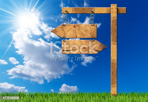 186103814istockphoto Wooden Directional Sign - Two Arrows with Chain 472246306
