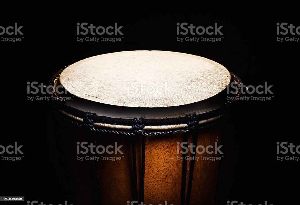 Wooden Djembe Details stock photo