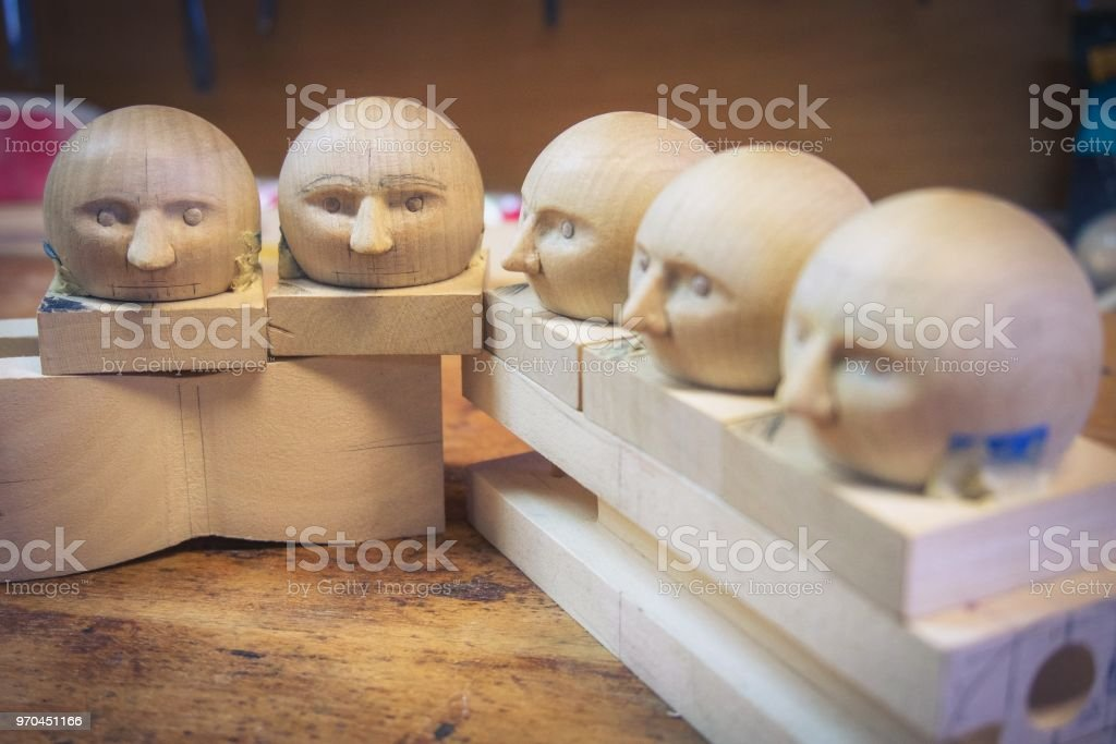 Wooden Doll Heads In Toy Workshop Stock Photo Download Image Now