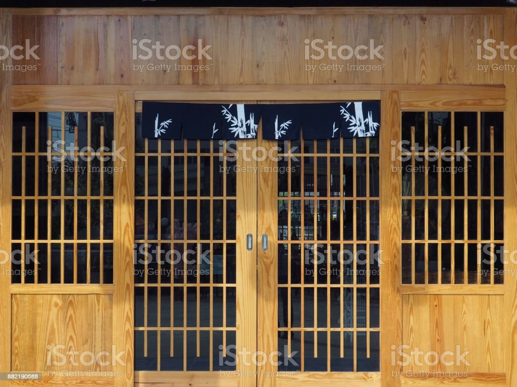 Wooden Door And Front Wall Japanese Or Chinese Restaurant Space For