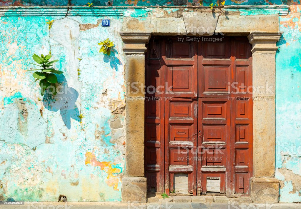 Wooden Door Antigua Guatemala stock photo