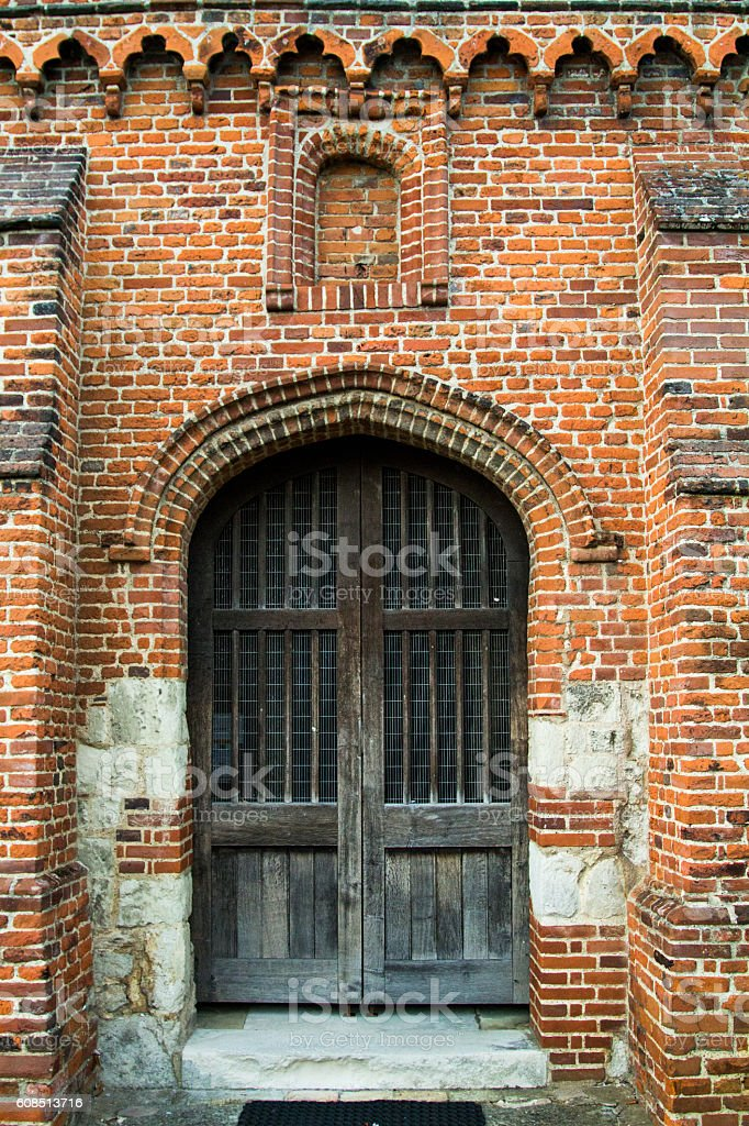 Wooden Door at Church Entrance stock photo
