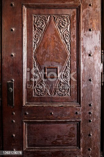 Wooden Door Carved with Simply Floral Ornament