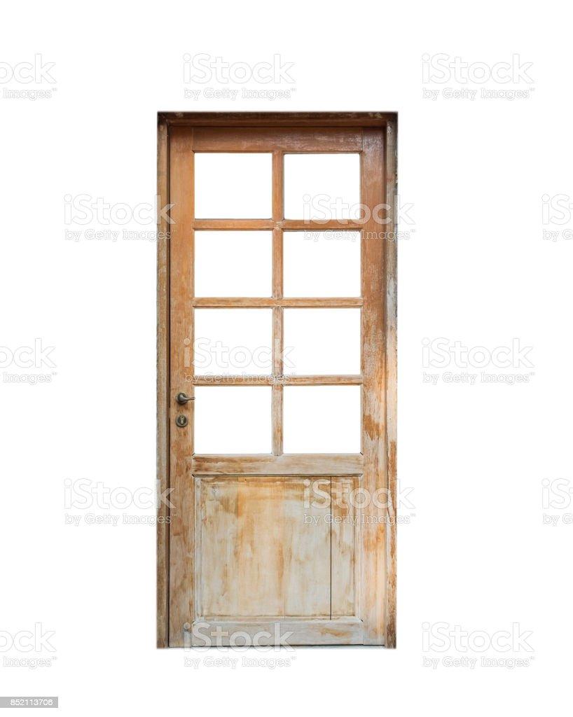 Wooden door front house stock photo