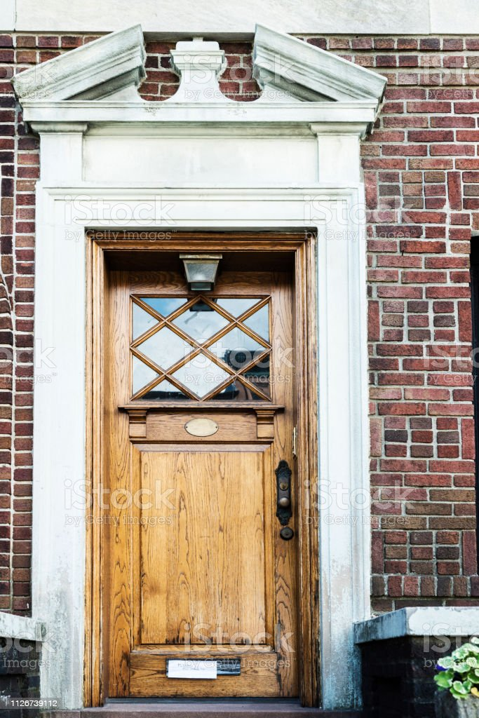 Wooden Door Of A House In Brooklyn In New York City Usa