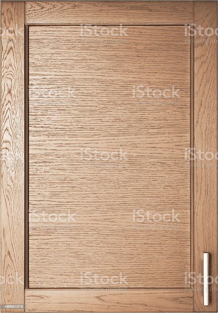 Wooden door of wardrobe in kitchen stock photo